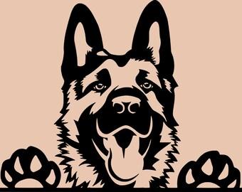 German Shepard Dog SVG DXF AI pdf cricket plasma sticker making cut file