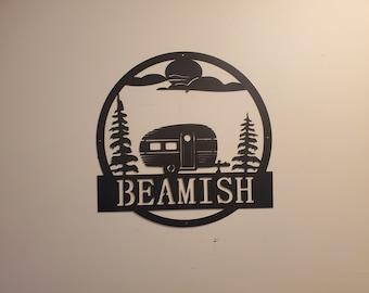 Personalized Monogram Camper scene sign      Made In USA      metal art monogram campfire wall decor