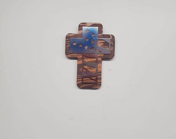 Memorial American flag Cross   metal flag cross on wood  Made in USA rustic cabin wall art v1 Americana flag cross