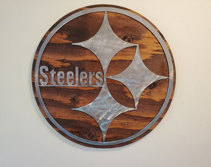 Pittsburgh Steelers tribute metal art on wood  football Made in USA rustic wall decor