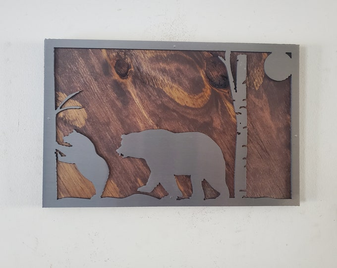 Beautiful unique Bear scene picture metal art on wood     Made in USA rustic black bear wall decor picture frame