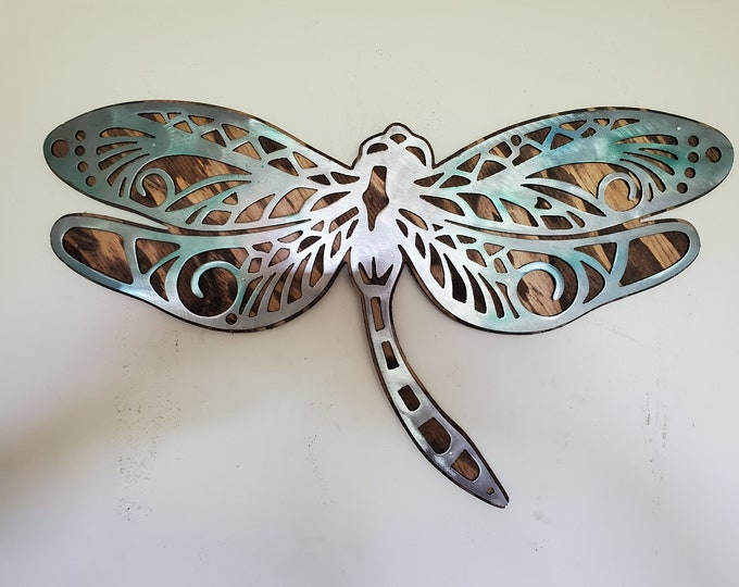 Dragonfly wall art decor     metal on wood rustic wall hanging    Made in USA   steel office sign