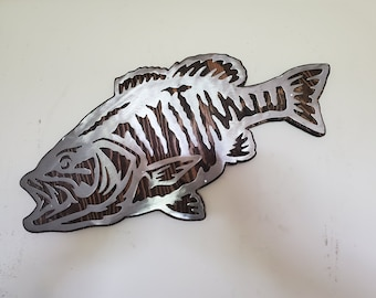 Small Mouth Bass fishing gifts metal art on wood smallmouth bass fishing wall decor Made in USA fishing gift for men or bass fishing gift