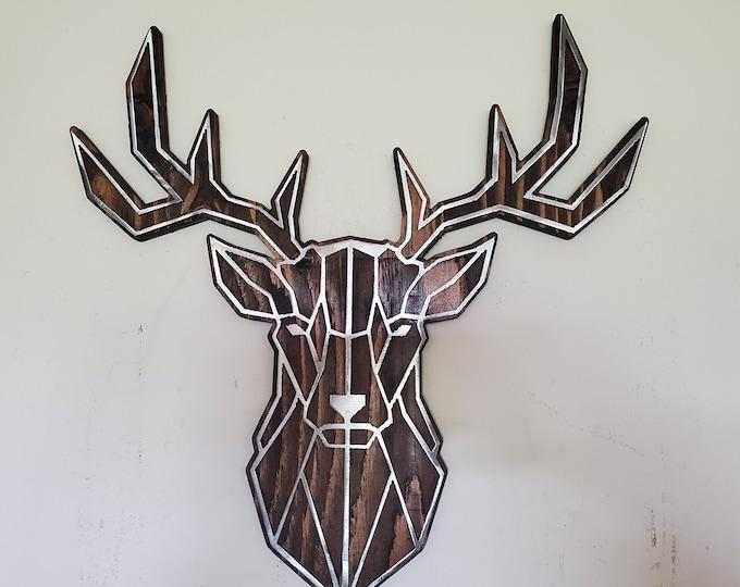 DEER buck head mount metal art on wood Beamish whitetail white tail deer abstract metal art wall decor