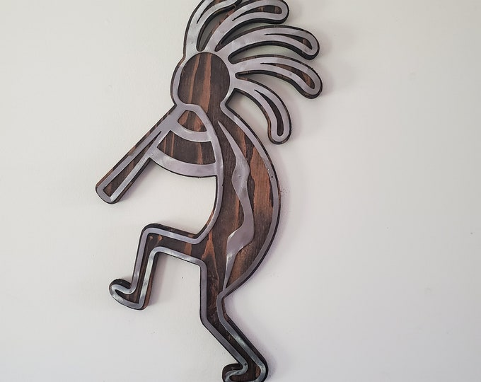 Dancing Kokopelli metal art on wood     Made in USA      rustic steel wall decor