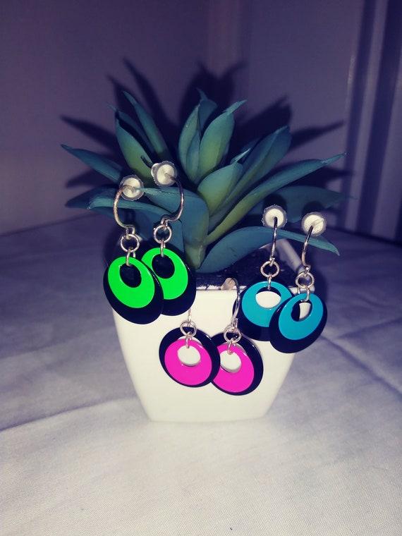 Vintage 1980s Neon Earrings , Retro Earrings , Ret
