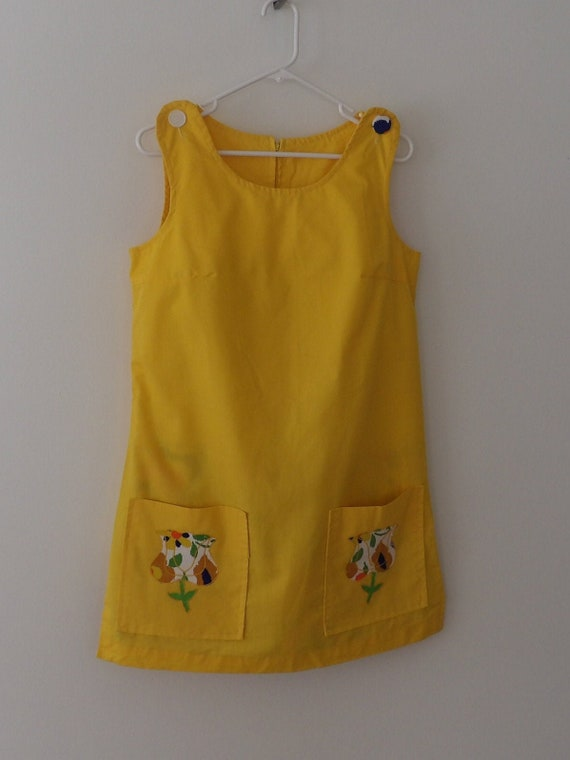 Vintage 1966 Summer Skort Dress Yellow Sleeveless