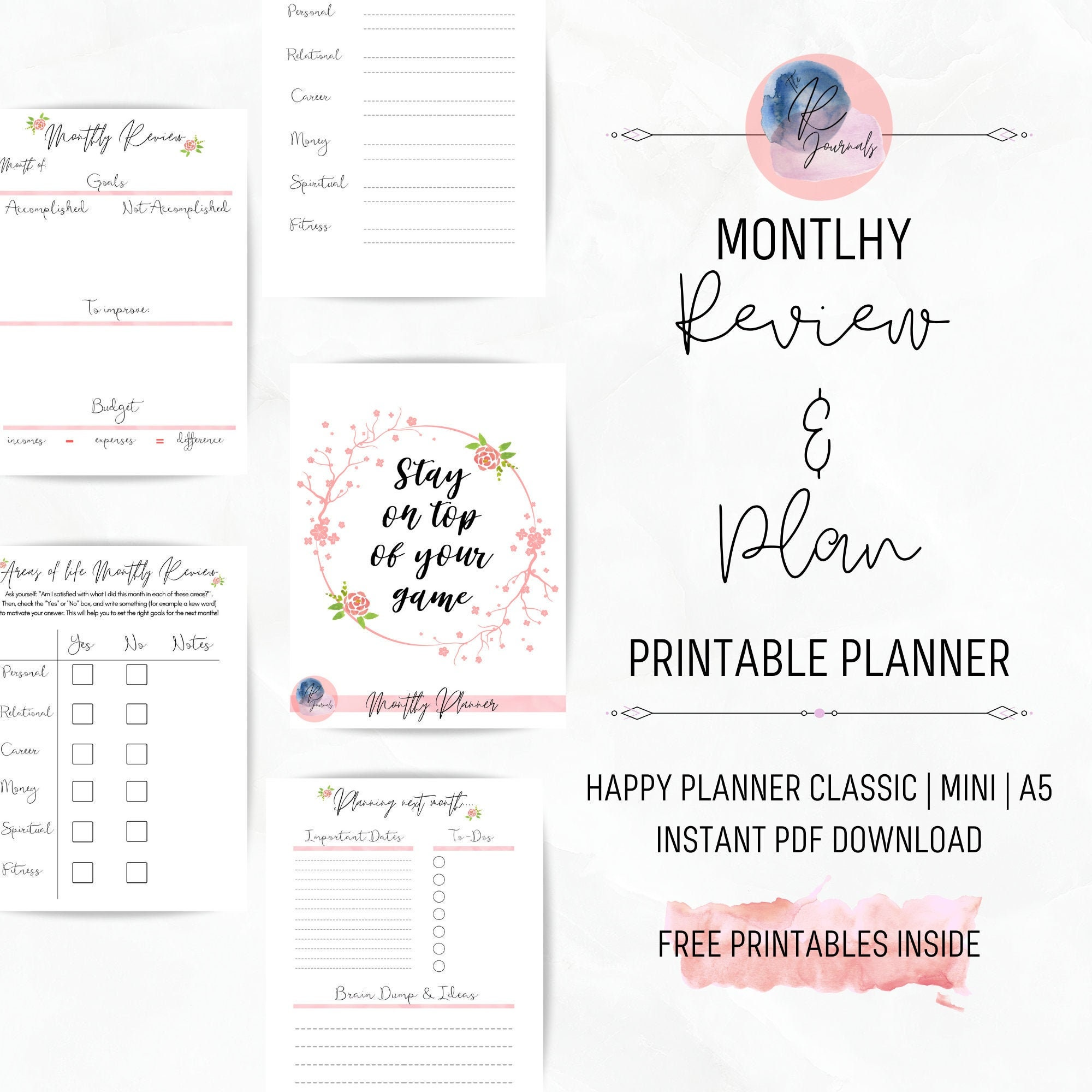 FREEBIES Printable Planner Monthly Planner Review and Plan Customizable,  Pink, Happy Planner Classic, Mini, A20, Instant PDF Download, Insert