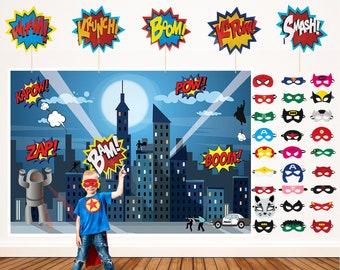 Superhero Party Supplies Kit 28 Masks and 6 Props 7ft Superhero Backdrop