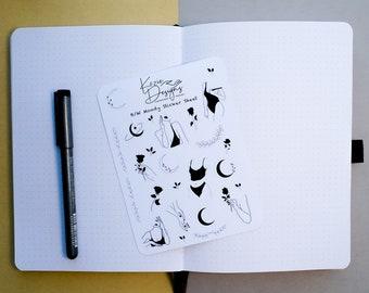 Black & White Moody Boho Sticker Sheet   Bullet Journal Stickers, Minimal Stickers, Planner Stickers, Scrapbooking Stickers