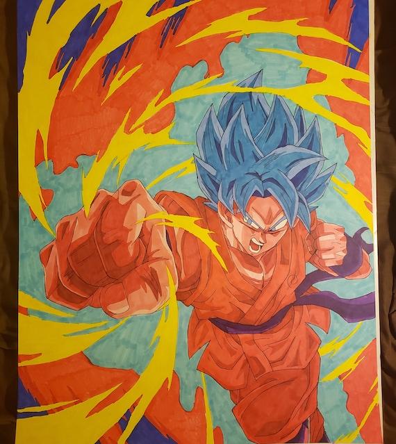 Super Saiyan Blue Kaioken X10 Goku Drawing