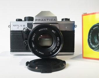 PRACTICA MTL5B w/ HELIOS 44M-7 — vintage, fully mechanical 35mm film SLR with 58mm f/1.2 lens, made in Germany (film tested, working)