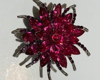 purple flower brooch lavender Vintage pink and purple rhinestone flower pin pink flower brooch hot pink flower pin purple and pink