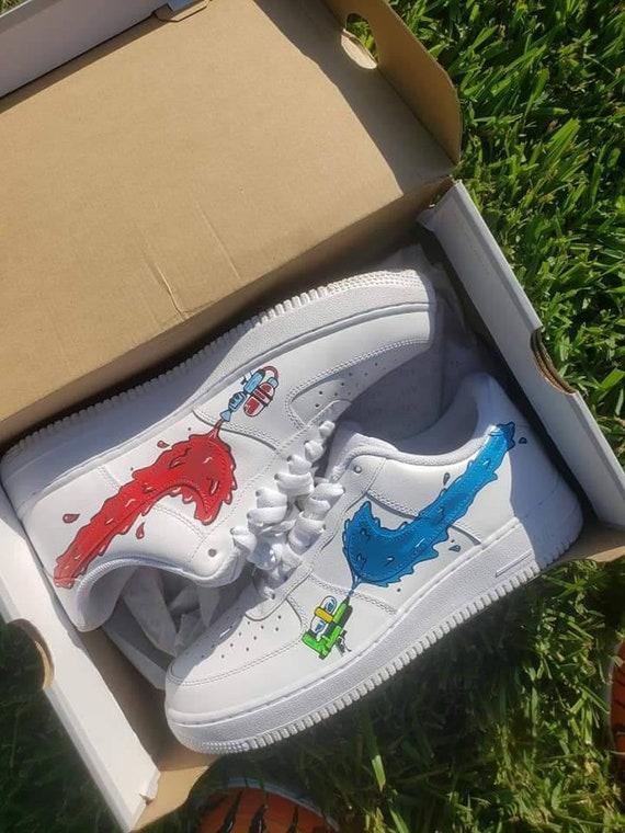Custom Nike Air Force 1 White Blue Black Splatter Paint UK Size 7 8 9 10 11 AF1   eBay