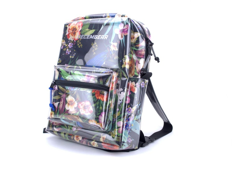Transparent backpack whit printed inner