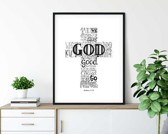 Romans 8:28, Hand Lettered Art, Word Art, Bible Lettering, Home Decor, Printable Art, Christian Art, Essential Oils, Scripture, Typography
