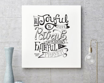 Romans 12:12, Hand-Lettered Digital Download, Word Art, Bible Lettering, Bedroom Art, Printable Decor, Christian Art, Bible Verse, Scripture