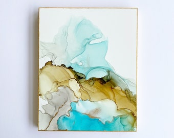 Beach Day, Alcohol Ink Painting, Fluid Art, Abstract Painting, Cradle Board Canvas, Beach Art, Alcohol Ink Art, Wall Decor, 8x10