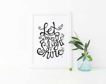 Let Your Light Shine, Hand Lettered Art, Word Art, Bible Lettering, Home Decor, Printable Art, Christian Art, Bible Song, Typography