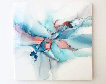Sea Surprise, Alcohol Ink Painting, Fluid Art, Abstract Painting, Cradle Board Canvas, Beach Art, Alcohol Ink Art, Wall Decor, 12x12,