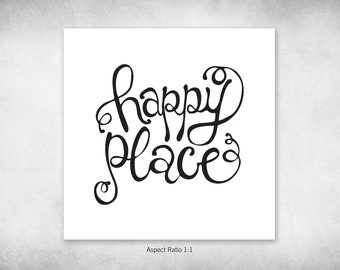 Happy Place, Hand-Lettered Digital Download, Word Art, Inspirational Lettering, Bedroom Art, Printable Decor, Office Art, Pen and Ink, Words