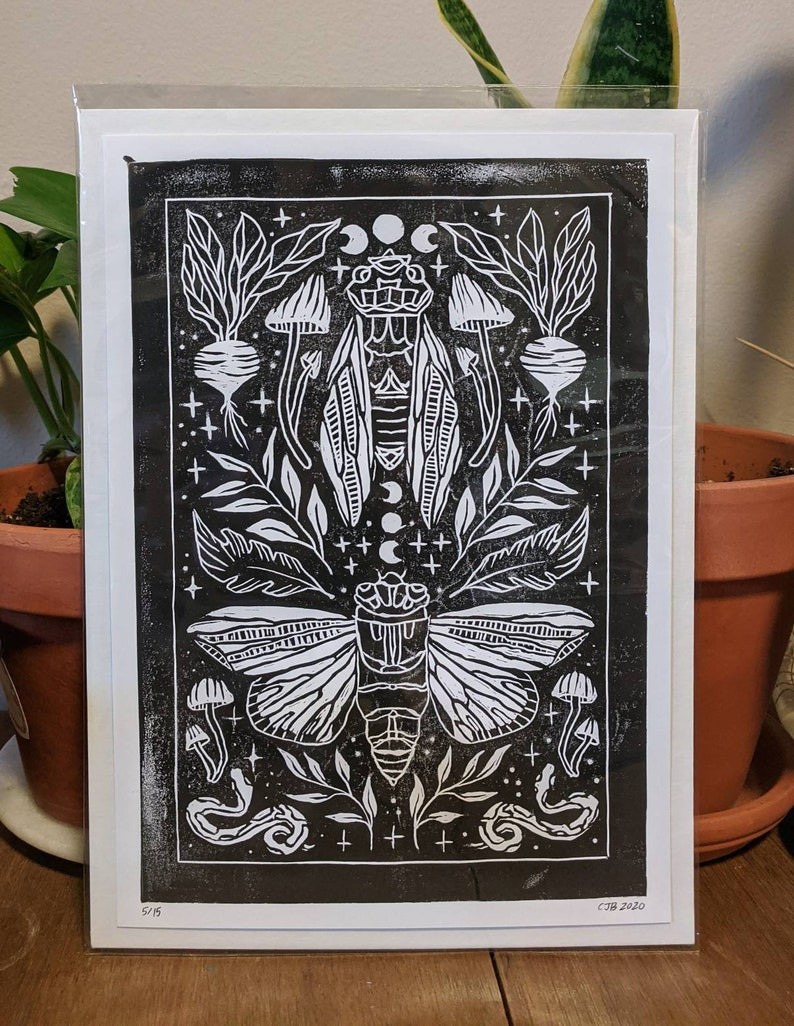 Hand Carved Rubber Stamp Print Witch core Cottagecore Hand Printed Witchy Cicada Linocut Block Print Goblincore Print
