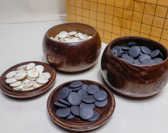 Rare Nachiguro Clam Go Stones & Wooden Utensil Set Igo Japan Vintage 1964's made of antique shells and stones.grain white 176 black 176