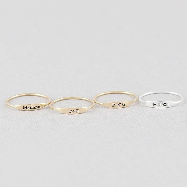 Custom Name Gold Rings for Women-Engraved Jewelry Anniversary Gift for Mom-Silver Name Ring for Her-Unique Gift Personalized Engraving Ring
