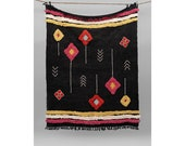Home Decor Throw Picnic Throw Ethnic Décor,Black Decorative Sofa Throw,Cotton Handmade Moroccan Throw, Boho Chick Blanket,Beach Blanket