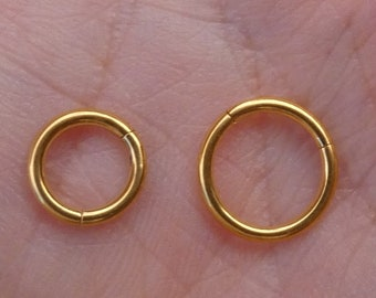 HelixRook Cartilage Hinged Clicker Hoop Gold PVD Over 316L Surgical Steel Comes in 5,6,7,8 or 9mm 20G Rose Gold Nose Ring Daith Ring