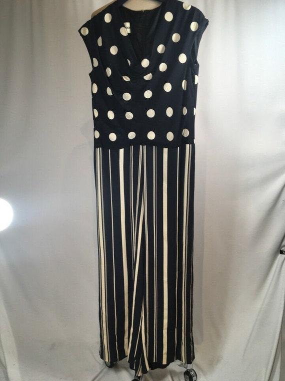 Rudi Gernreich Navy Blue & White Polka Dot Striped