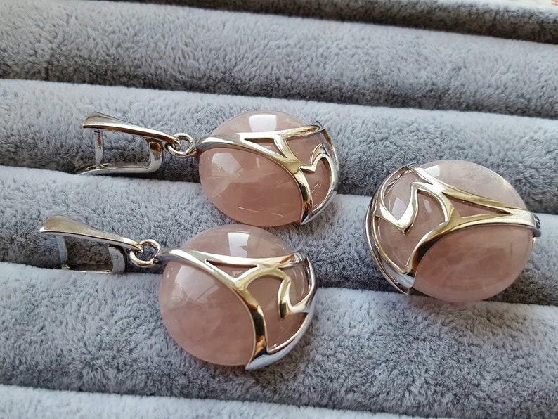 Set silver with rose quartz natural