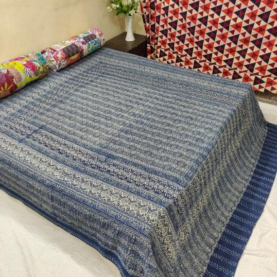 Indian Cotton Kantha Quilt Throw Blanket Bedspread Vintage Throw Hand Block