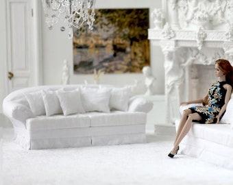 1/6 Miniature sofa with accessories for dollhouse Poppy Parker, Phicen, BarbieMTM, Barbie, BJD