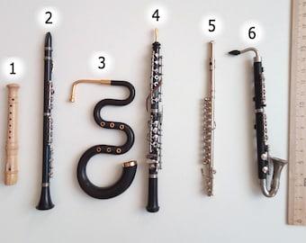 Miniature Collectible Musical Instrument Block Flute, Clarinet, Serpent, Transverse Flute, Bass cLarinet 1/6