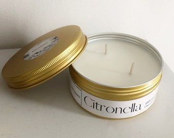 Citronella Candle, Coconut & Soy Wax Garden Decoration, Summer, eco-friendly, Made with 100% Pure Citronella Essential Oil, gold, tin, vegan