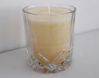 Musk Scented Candle, Whisky glass, Vegan Wax, Gold Glitter, For Men, For Women, Unisex, Gift, Idea, Gold wax, Black Tie