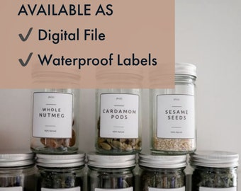 Minimalist Spice Labels - Available as Weatherproof Labels or Digital File for home printing / Customisation possible