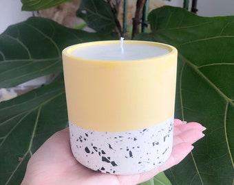 Large Citronella Candle in a Terrazzo pot, Garden Decoration, Summer, eco-friendly, Made with 100% Pure Citronella Essential Oil, Vegan Wax