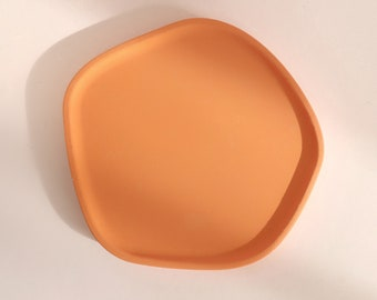 Burnt Orange Tray Dish, colour, gift, eco-friendly, candle plate, 15cm diameter