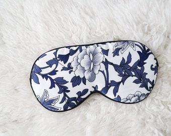 Natural 100% Mulberry Silk Sleeping Eye mask Blue Floral, Sleepmask, Gift, blindfold