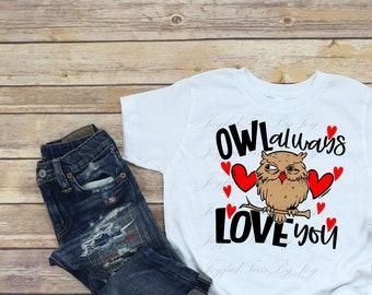 Tstars Valentines Day Owl Always Love You Toddler//Kids Long Sleeve T-Shirt