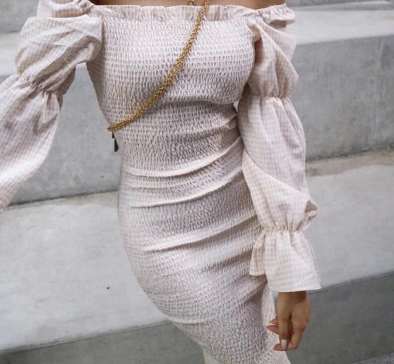 Classic White Bodycon Dress Bohemian Style Plain White Lady Dress