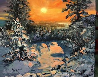 """Winter evening painting, original oil painting on canvas 12""""x 16"""",wall deco ,gift for friend, winter landscape ,forest in winter ,oil art"""