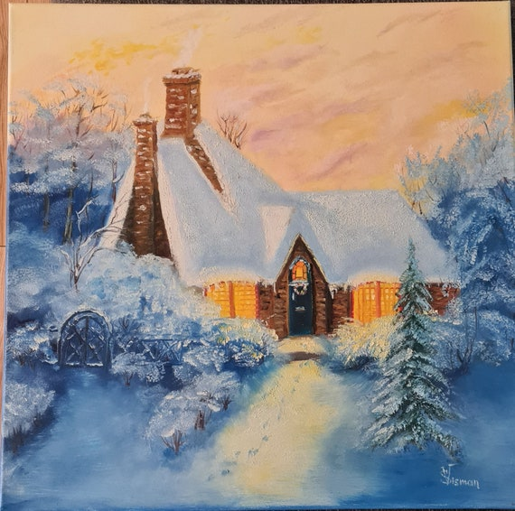 home deco large custom winter oil painting on stretched canvas  50x70cm Christmas Time winter sunset Christmas present,gift ideas