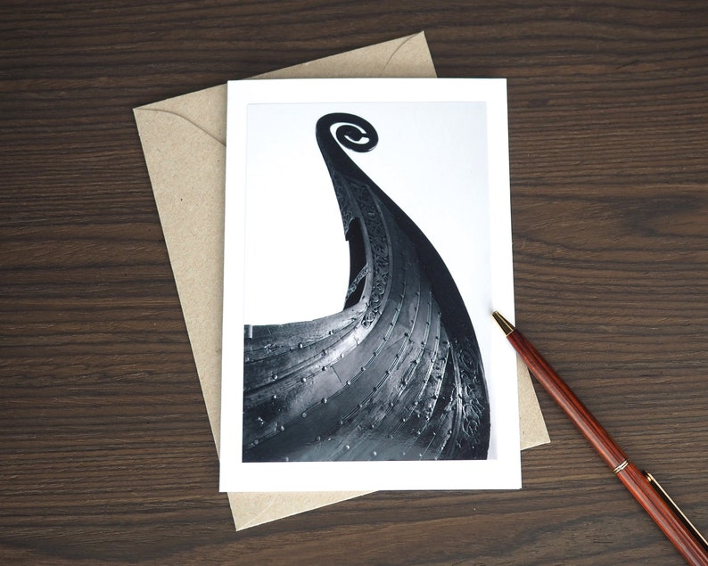 Viking Ship Birthday Card for Him Nordic Art Print on image 0