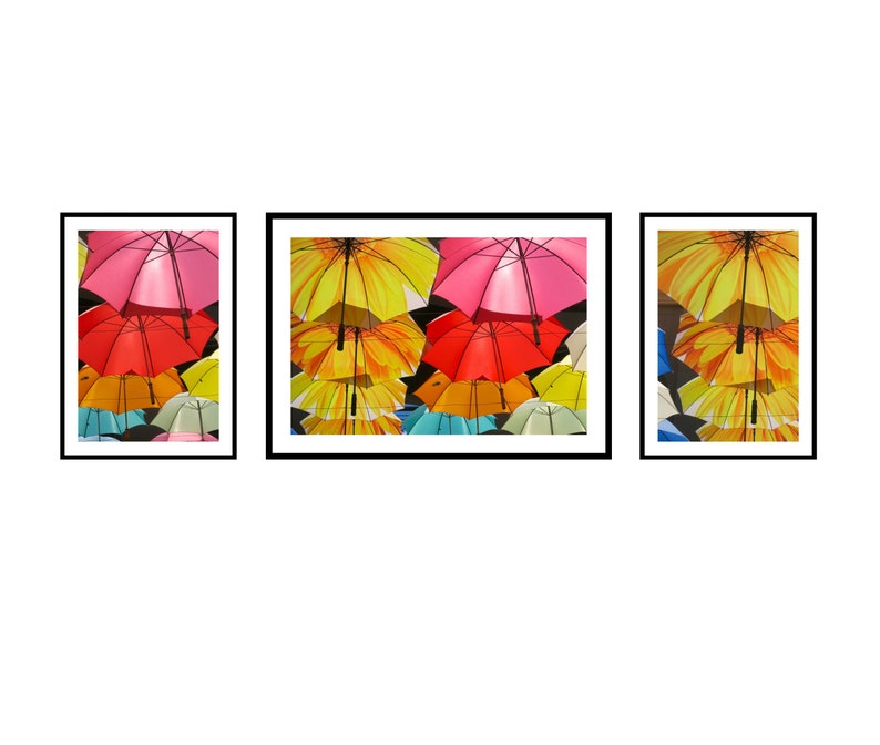 Colourful Print Set of 3 Umbrella Art for Walls Urban Street image 0