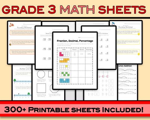 Third Grade Math Worksheets 300 Sheets Grade 3 Math Etsy