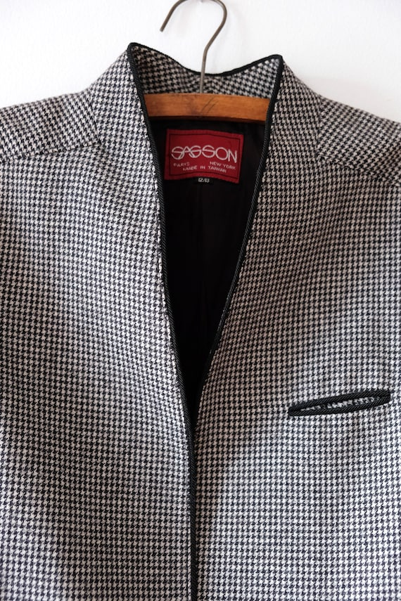 Vintage 80s SASSON Houndstooth Wool Blazer   Wome… - image 4