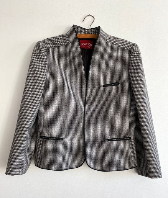 Vintage 80s SASSON Houndstooth Wool Blazer   Wome… - image 3
